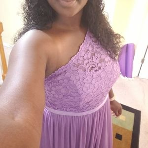 One shoulder, bridesmaid dress, Wisteria (purple)